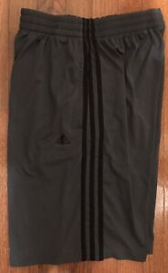 Men's Adidas Climalite Athletic Shorts Gray With Black Stripe Size S/L