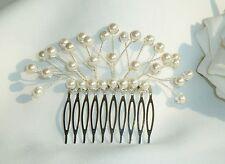 Handmade Bridal Bridesmaid Prom - Small Ivory Pearl Hair Comb Slide