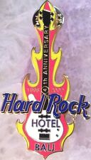 Hard Rock Hotel BALI 2002 4th Anniversary PIN White Flaming Bass Guitar #16632