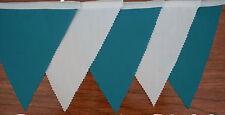 Tessuto colorato Bunting-Aqua & Bianco Matrimonio Festa, Decorazione, 2 m di lunghezza