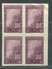 ARGENTINA SCOTT# 581 GJ# 961 IMPERFORATED PLATE PROOF BLOCK OF 4 RARE AS SHOWN