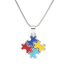 Autism Awareness Square Puzzle Crystal Pendant Necklace Jewelry Autistic Unisex