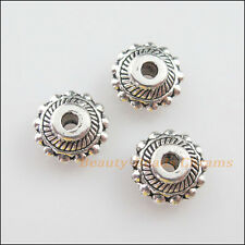 6Pcs Tibetan Silver Tone Flower Round Flat Spacer Beads Charms 7mm
