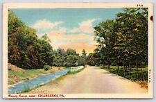 Beauty Scenes near Charleroi, Pennsylvania Washington County Linen Postcard