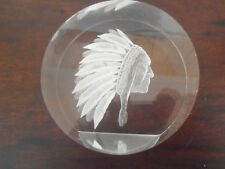 Mid century lucite paperweight of American indian chief with head dress FABULOUS