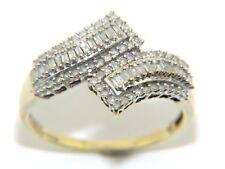 Ladies Womens 9ct 9carat Yellow Gold & Diamond Crossover Ring UK Size V FREE P&P