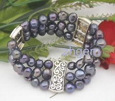 "Tibet 3 rows real black baroque pearl 8-9mm stone handmade stretch bracelet 7.5"""