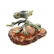 "Bronze Brass Figurine Statuette Russian ""Owl on a branch"" Baltic Amber #18"
