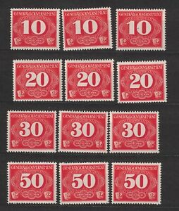 Germany Generalgouvernement 1940 postage due, Mi1-4 MNH, 3x set, #HTY#