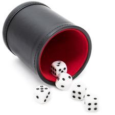 Las Vegas Style Premium Dice Cup Felt Lined Black Red w/5 White Dice New w/o BOX