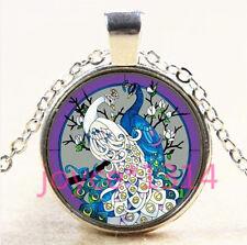 Vintage Peacock Cabochon Tibetan silver Glass Chain Pendant Necklace #4460
