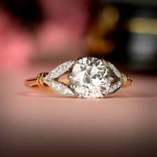 Halo Engagement Ring 925 Sterling Silver Vintage 2.28 ct White Round cut Diamond