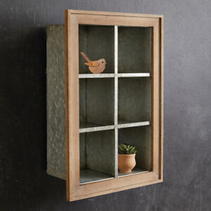 Wall Display Shelf with cubbies in distressed metal