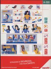 EUROFLY Italian Airline A 320 SAFETY CARD air brochure alitalia sc785 aa