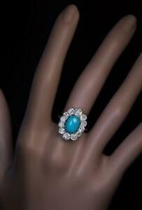 Amazing Unique Vintage Persian Turquoise With Rose Cut CZ Halo Fashion Fine Ring