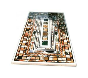 5'x3' Marble Contemporary Dining Table Top Multi Marquetry Inlay Home Decor E955