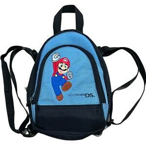 NINTENDO DS Embroidered Mario Mini Backpack Game Accessory Carry Case Bag Blue
