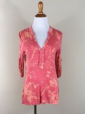 Soft Surroundings XS Tunic Top orange pattern 3/4 sleeve rolled up vneck stretch