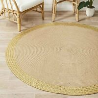Uyuni Natural Jute & Gold Leather Round Rug (L) 200X200cm **FREE DELIVERY**