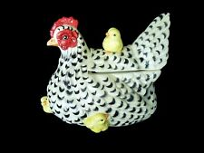 Fitz & Floyd White & Black Spotted Hen Jar w/ 4 Attached Chicks rooster chicken