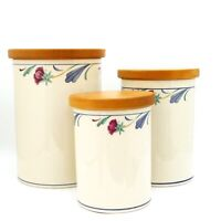 Lenox Canister Set of 3 with Wood Lids Poppies on Blue