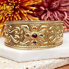Estate Vintage 14KT Yellow Gold Etruscan Byzantine Gemstones Cross Cuff Bracelet