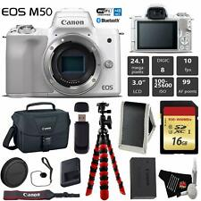 Canon EOS M50 Mirrorless Digital Camera (White, Body Only) + 16GB Memory Card
