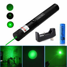 Green Laser Pointer Pen 532nm 1Mw Visible Beam Light + 18650 Battery+Charger US