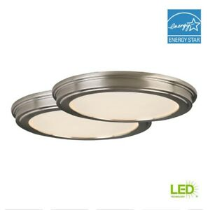 Commercial Electric 24-Watt Brushed Nickel Integrated LED Ceiling Flushmount 2pc