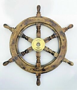 """Antique Wooden Ship Wheel 19"""" inch Vintage Maritime Ships Pirate Wall Decor Home"""