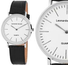 Damen/Herren Armbanduhr Weiss/Silber/Schwarz Kunstlederarmband Leonardo Verrelli