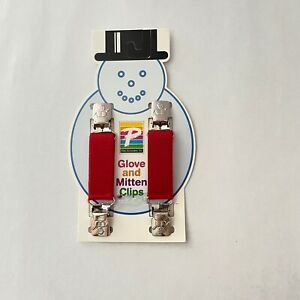 Toddler Glove And Mitten Clips Clips N Grips Elastic With Snowman Vintage