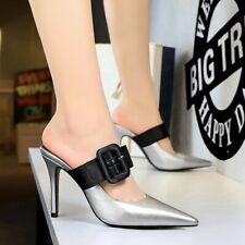Fashion Womens Mules High Heels Sandals Slippers Pointed Toe Buckle Pumps Shoes