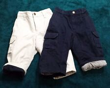2  Lined Khakis Boy Pants Baby Gap Size 18 - 24 months - Elastic Waist Cozy Warm