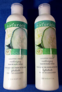 AVON Naturals CUCUMBER MELON Hand & Body Lotion 8.4 oz. ~ LOT of 2 NEW & SEALED