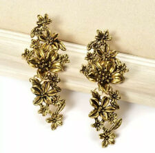 Zara style vintage gold cascade flower earrings long drop vintage gold earrings