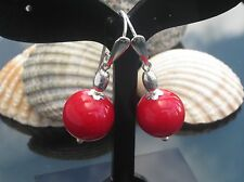 NEW Stunning Red Coral Bamboo 14 mm Bead 925 Sterling Silver Earrings with Hook
