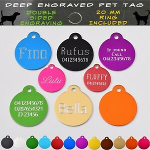 Pet ID Tag Engraved Deep Dog Cat Name Tags Personalised Customised Name Tag