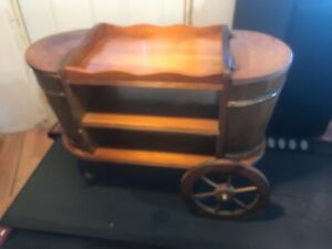 Antique  Wood Tea Bar Wine Cart Wood  Wagon Wheel