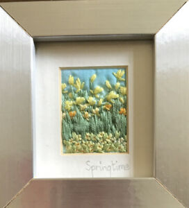 Miniature Embroidered Needlework MALMESBURY GARDENS by Lizzie B