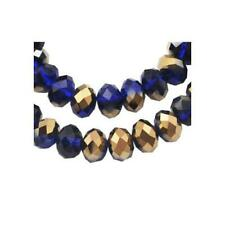 Czech Crystal Glass Faceted Rondelle Beads 6 x 8mm Dark Blue/Gold 70+ Pcs Crafts