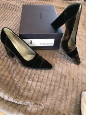 4d3ac82142b PRADA Block-Heel Brown Velvet Pumps Slip-on Shoes Size 38