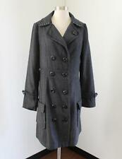 Lulumari Gray Herringbone Trench Coat Long Jacket Size L Wool Double Breasted