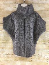 Elsamanda Short Sleeve Sweater Womens Medium Cable Knit Alpaca Wool Blend Zip Up