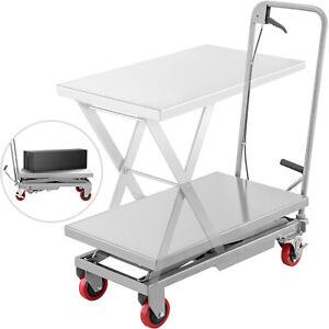 Hydraulic Lift Cart Scissor Table Cart 500LBS Manual Scissor Lift Table in Grey
