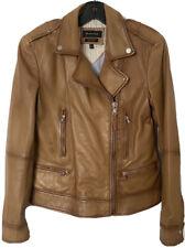 Massimo Dutti Leather Jacket Camel Beige - Size 8