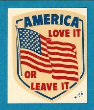"VINTAGE ORIGINAL 1966 SOUVENIR ""AMERICA LOVE IT OR LEAVE IT"" TRAVEL DECAL ART"