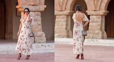ZARA STUDIO Floral Print Long Flowing Maxi Dress Sand XS S M L BNWT