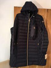 womens  Michael Kors Long Packable Paca Mac Coat Navy Blue Size 2X Approx UK 22