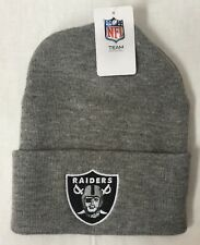 OAKLAND RAIDERS GREY KNIT BEANIE HAT W/ CUFF FREE SHIPPING CLOSEOUT